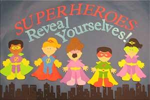 Paper cutouts of cartoon superheros.