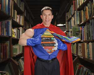 Jeff Evans in a superhero costume.