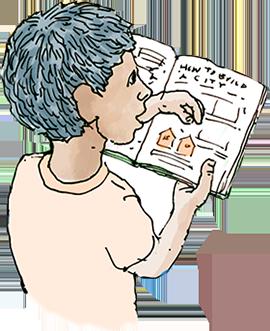 boy reading graphic